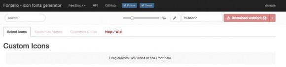 อัพโหลด SVG icon ลงไปในเว็บไซต์นี้เพื่อทำการ Generate ไอคอน ให้กลายเป็น Font
